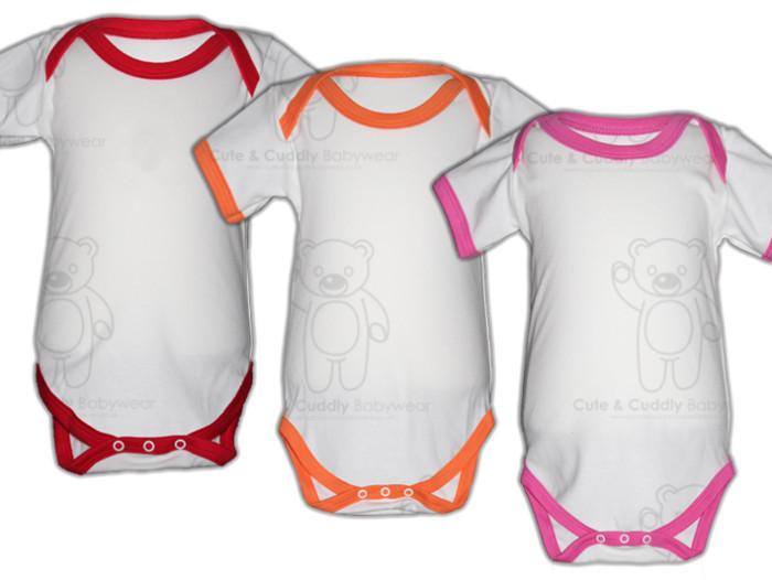 Short Sleeve White Contrast Trim Bodysuit - Mix & Match ...